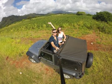 Grant and Rachel in a Jeep near Kapaa Kauai
