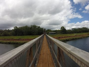 A swinging bridge near Downtown Hanapepe