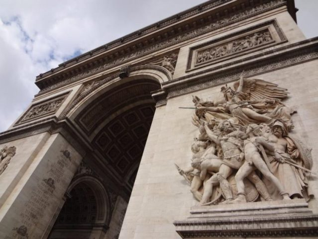 The front of the Arc de Triomphe