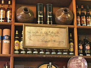 Hemingway quote at Cuban Mojitos at Bodeguita del Medio