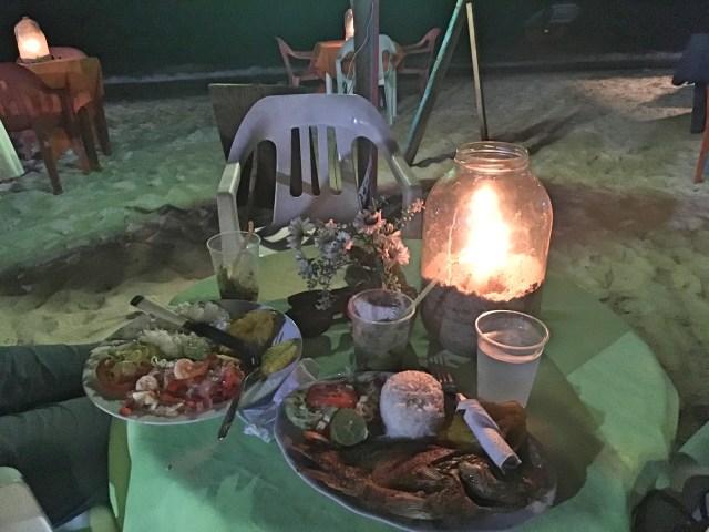 candlelit dinner on isla baru