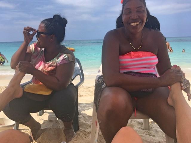 getting a foot massage on playa blanca