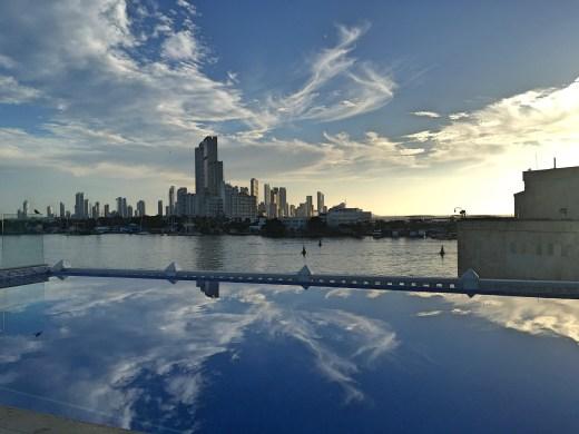 infinity pool looking at Cartagena skyline