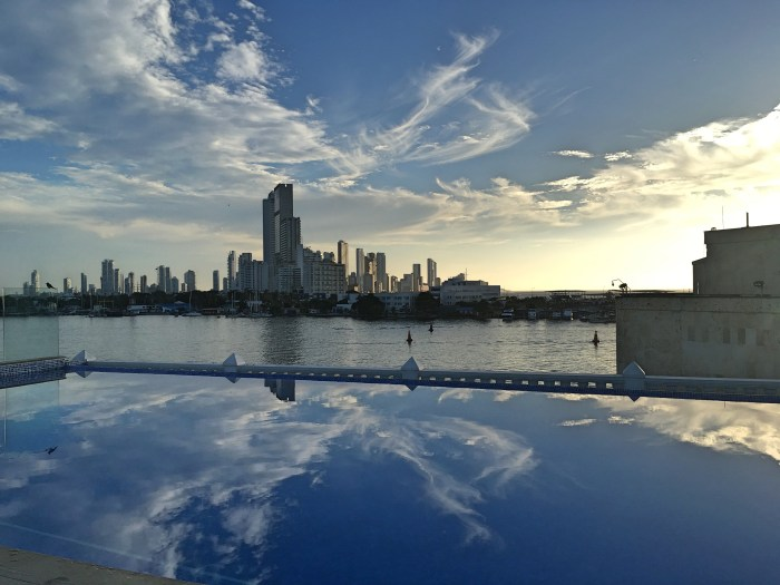 infinity pool looking at Cartagena skyline