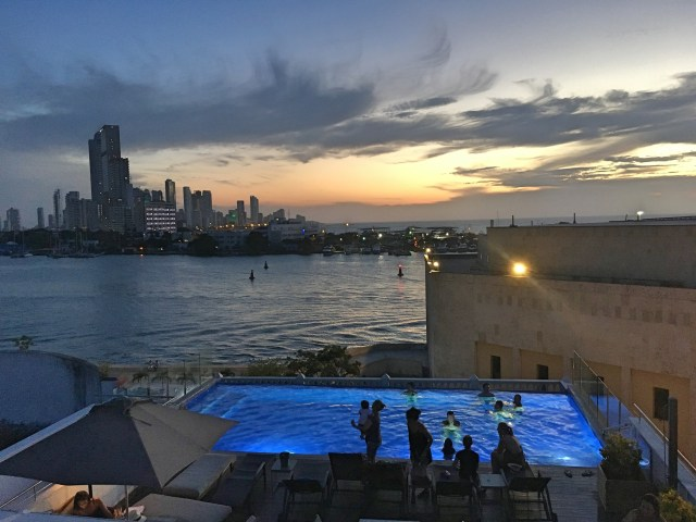 infinity pool at night in Cartagena