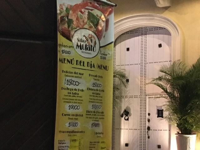 menu at sabor mulato restaurant in cartagena