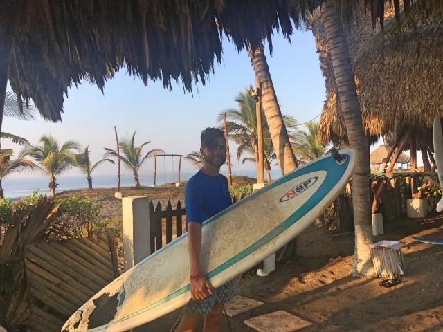 surfing at paredon surf camp