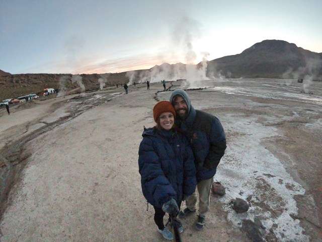 Grant and Rachel freezing geysers