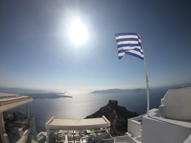 greek flag santorini