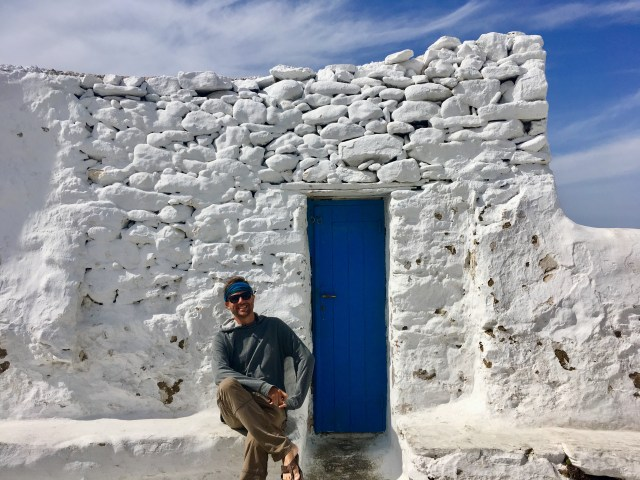 blue door in mykonos