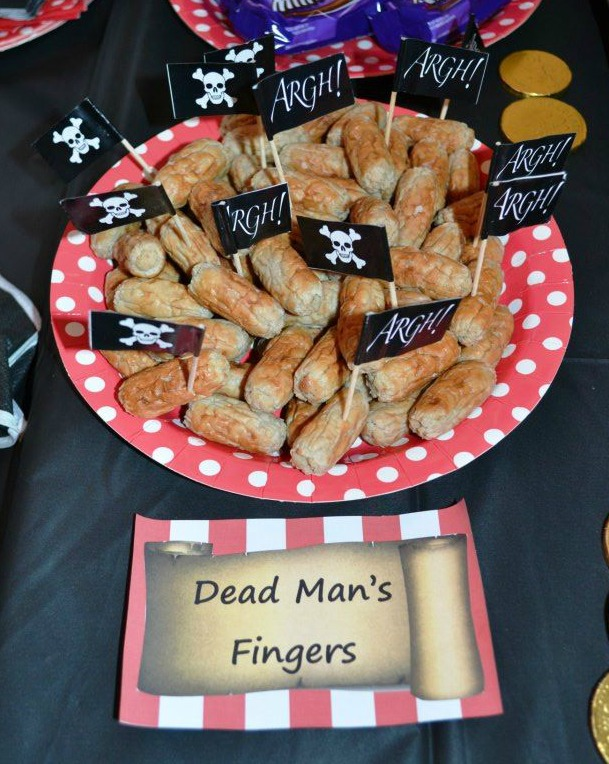 Dead man's fingers pirate party food ideas