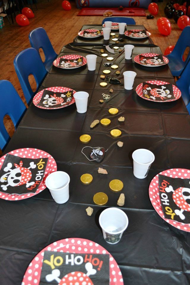 Thrifty pirate party table decorations