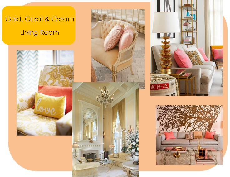 Gold, coral & cream living room