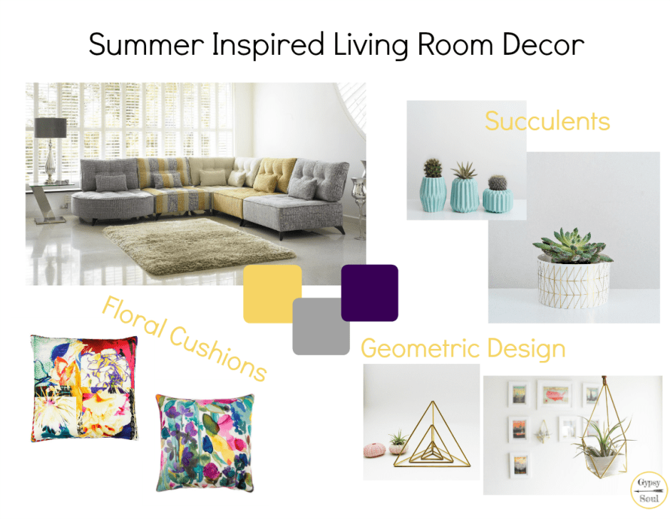 Summer Inspired Living Room Decor Mood Board