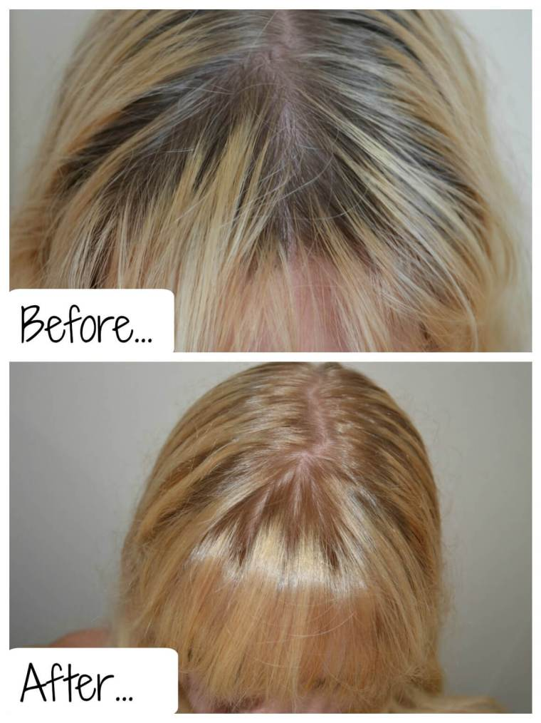 Before and after shot using Tints of Nature hair dye