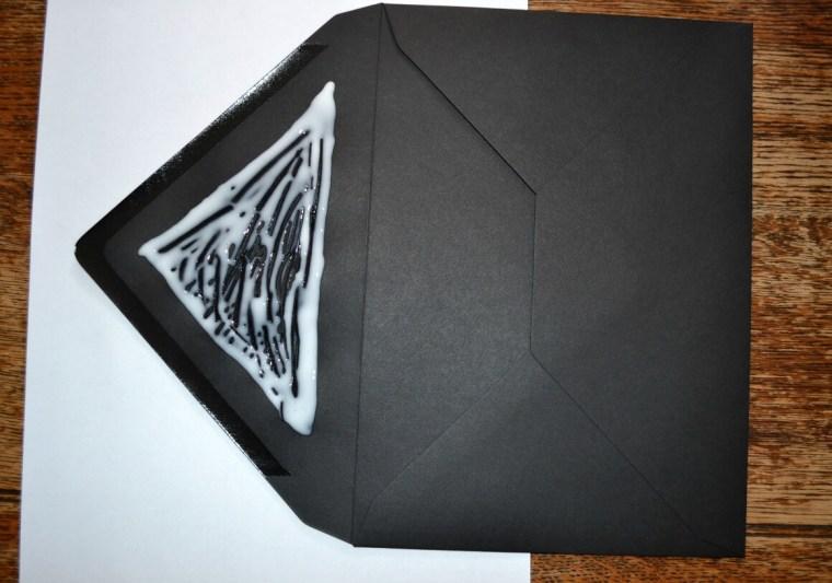 Making Gastcby style glitter envelopes for party invites