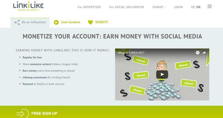 LINKILIKE earn money on social media