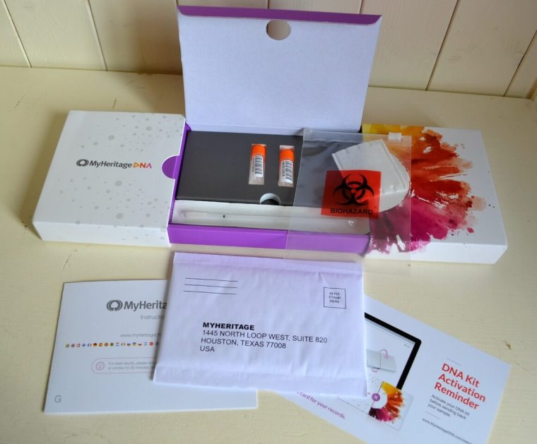 My DNA test kit from MyHeritage