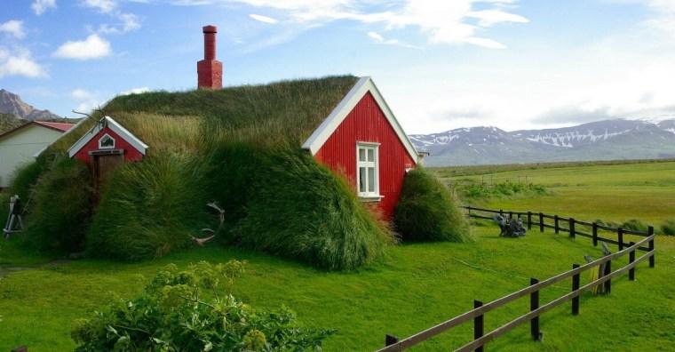 Grass roof eco home