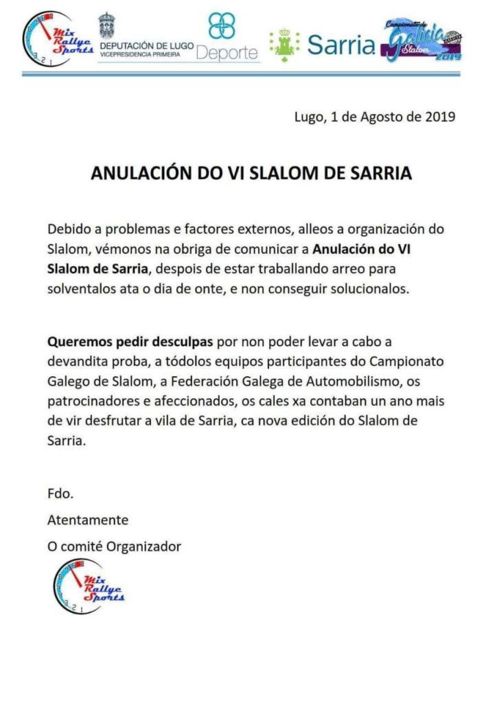 Anulado el 6 Slalom de Sarria