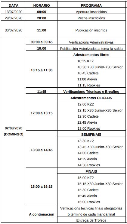 Horarios Karting Pastoriza