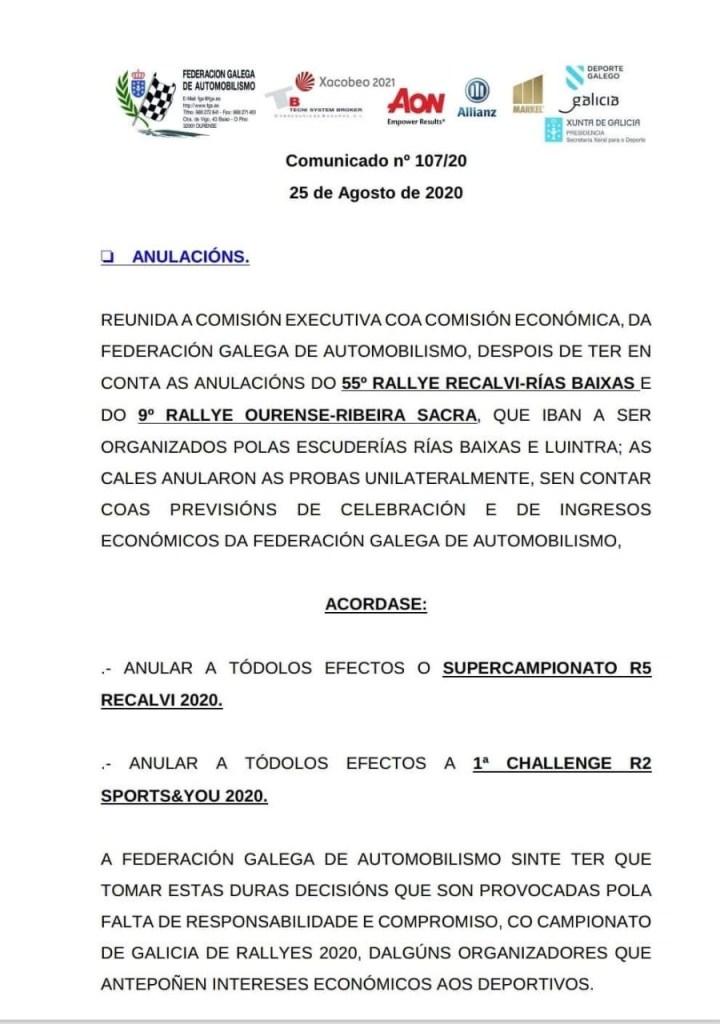 Comunicado Fga Cancelación de trofeos 2020