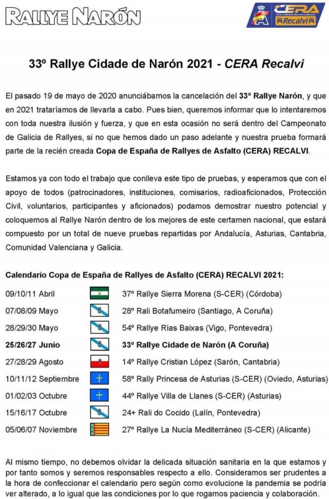 Comunicado Rally Naron 2021