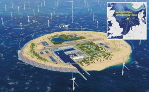 Artificial island for hydrogen production and distribution