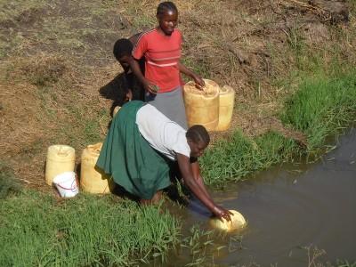 Femmes puisant de l'eau insalubre. Kenya.