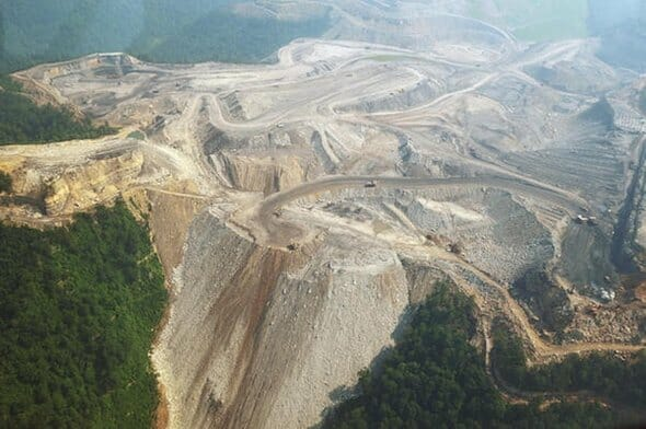 """photo: mountaintop removal by coal mining industry in """"Wild, Wonderful"""" West Virginia - possible cause of deformed fish in the area"""