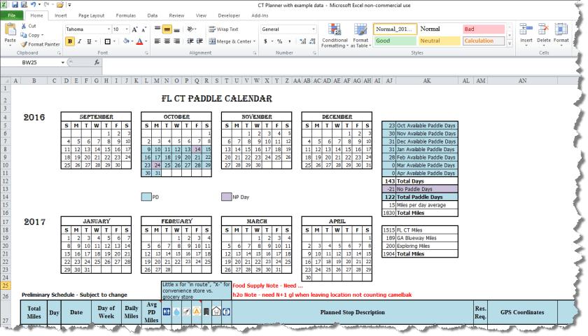 CT Paddle Planner Calendar