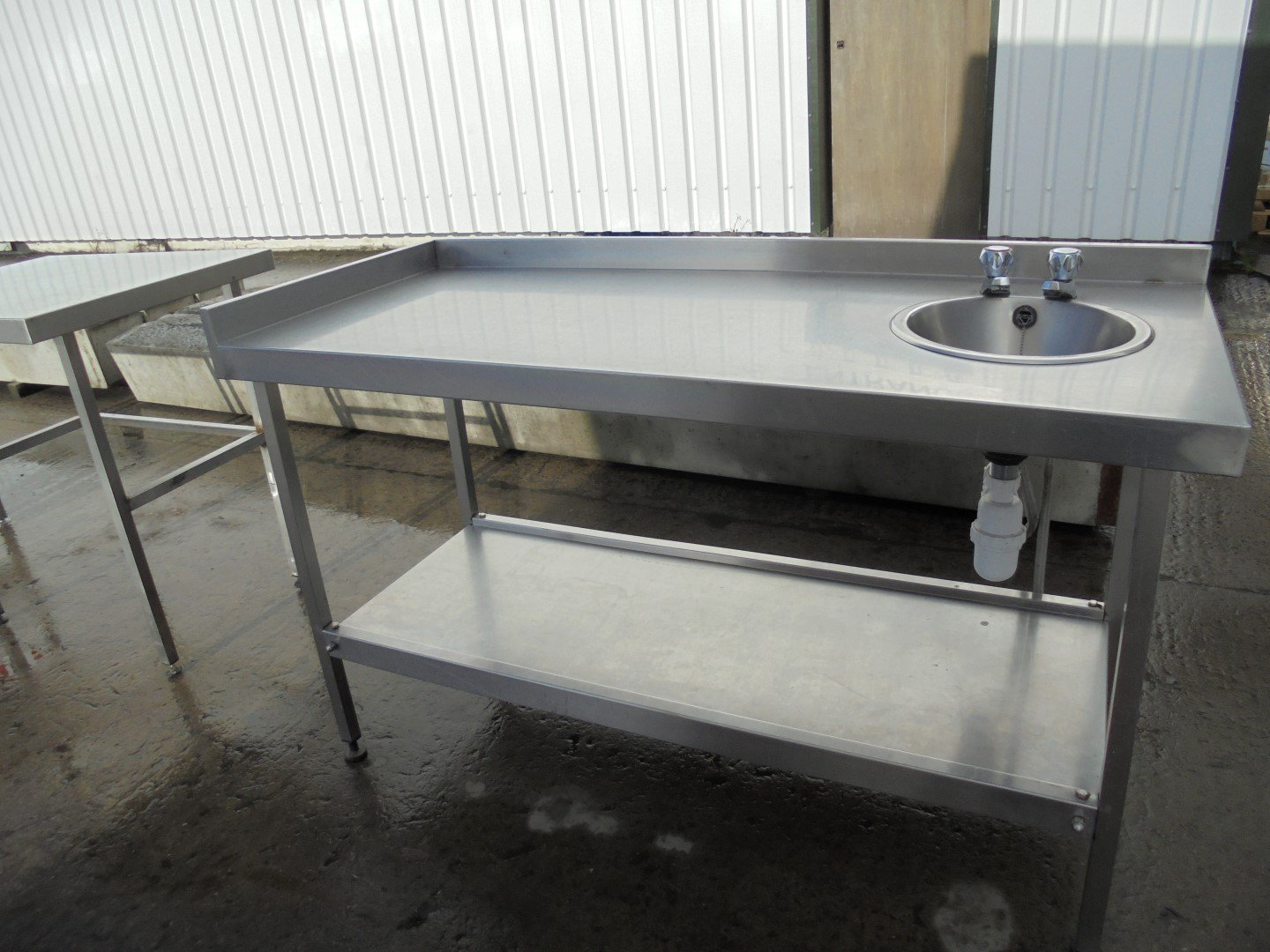 used stainless steel hand sink table 1 5 meter work kitchen food wash up prep dish tap 150cmw x 65cmd x 87cmh