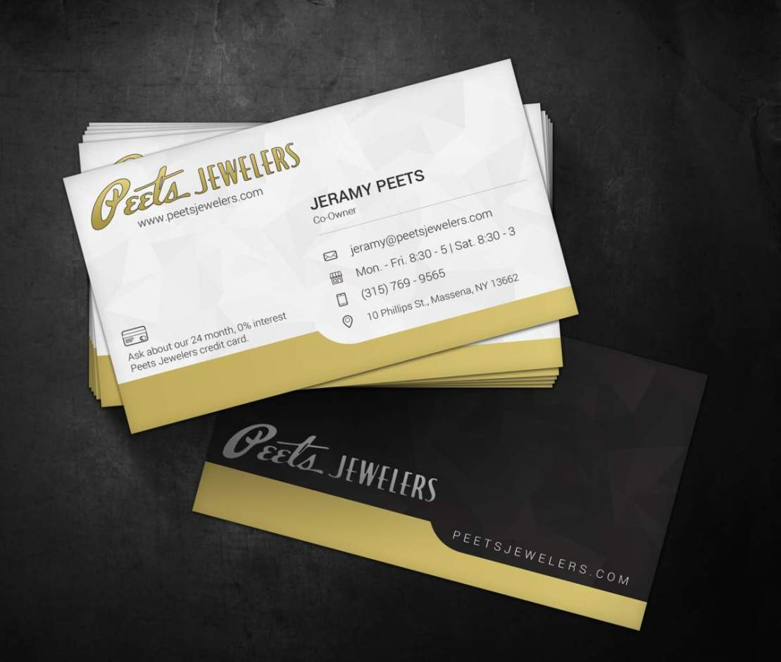 Peets Jewelers Business Cards H3 Designs
