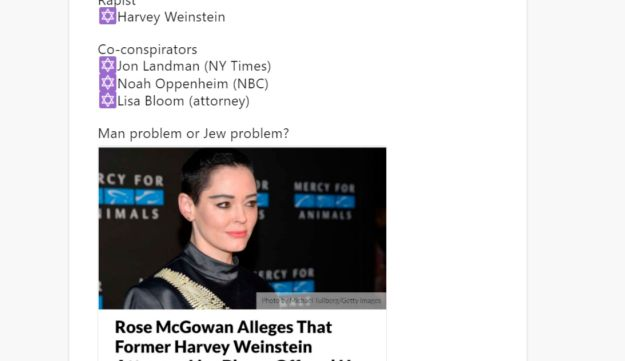 "Anti-Semitic tweet by ""Curse"" about Harvey Weinstein."
