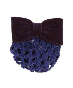 Patenspange mt Samtschleife und Chenille-Knotennetz, blau