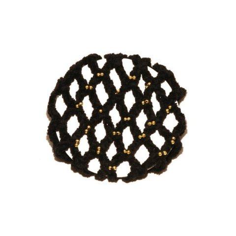 Chenille-Knotennetz mit Goldperlen - schwarz