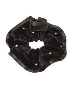 Samtzopfring mit Perlen und Satinpaspel schwarz