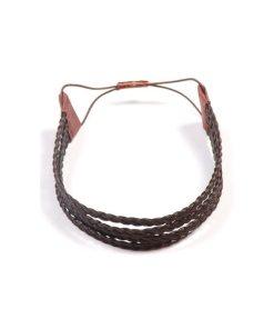 Haarband aus geflochtenem Kunsthaar vierreihig dunkelbraun hellbraun