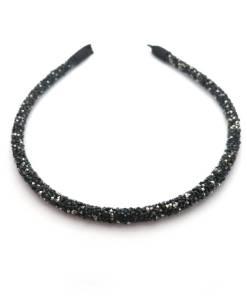 Haarreifen breit schwarz/silber