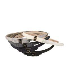 Haarreifen aus Stoff mit kleiner doppelter Schleife und Messingknopf Teile des Sortiments in weiss, hellgrau, dunkelgrau, blau und schwarz