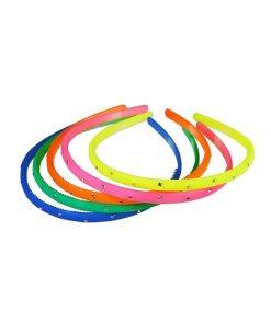 Haarreifen mit Strass in Neonfarben aus Kunststoff