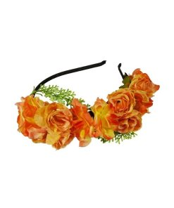 Haarreifen mit aufgesetzten orangefarbenen Blüten