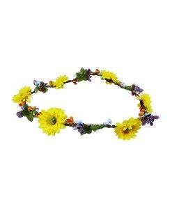 Haarband mit aufgesetzten gelben Blüten und lila kleinen Blüten mit Gummiband