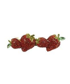 Patentspange mit aufgesetzten Erdbeeren aus Strasssteinen