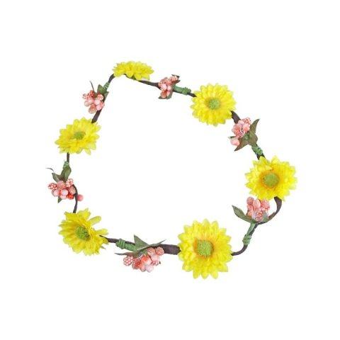Haarband aus Bläten gelb rose mit Gummiband