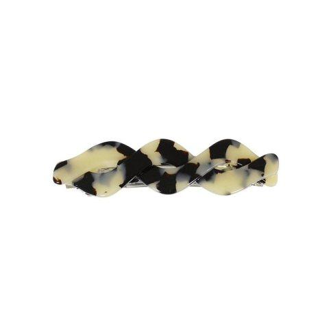 Haarspange schmal Plattenmaterial beige mit wellenförmigen Aufsätzen