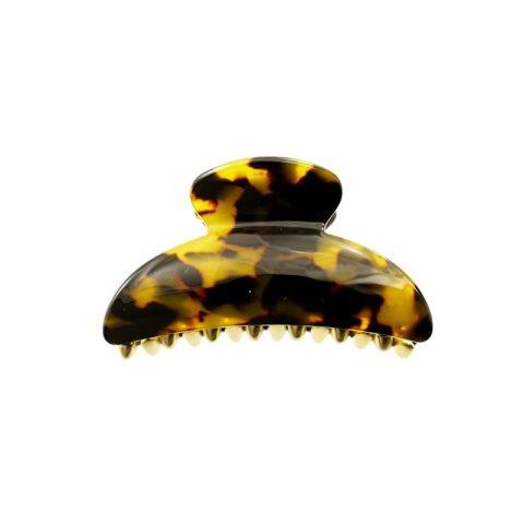 Haarklammer Plattenmaterial schildplatt mit goldenen Zacken
