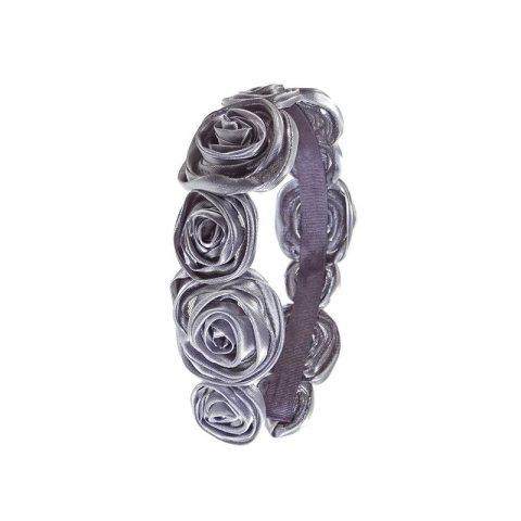 Haarreifen in grau mit elf aufgesetzten Rosen aus Stoff in grau