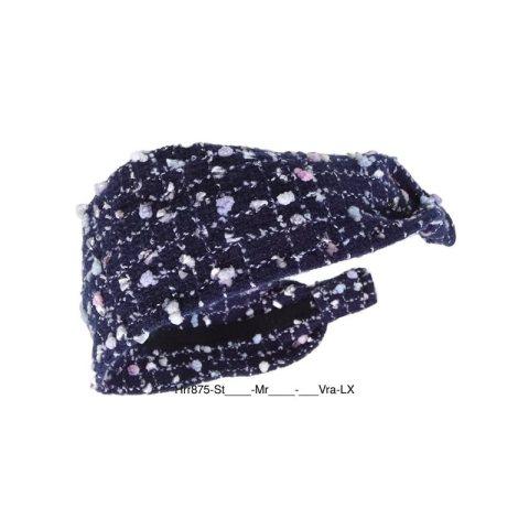 Haarreifen breit aus Stoff mit Noppen grobes Material blau