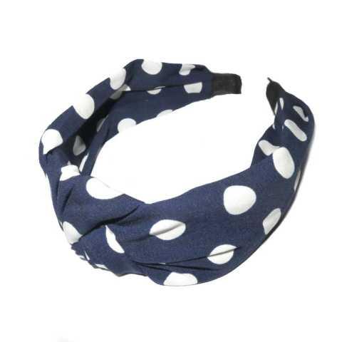 Haarreifen Stoff Punkte blau